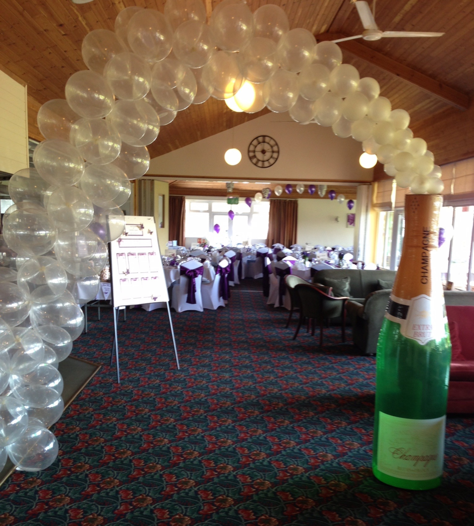 Lutterworth Golf Club Function Room set out for a Wedding Reception, overlooking the course.
