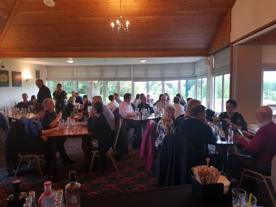 Lutterworth Golf Club Function Room set out for a quiz evening